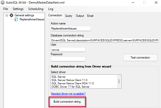Setup your connection string