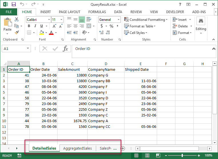 Data in one file with multiple sheets
